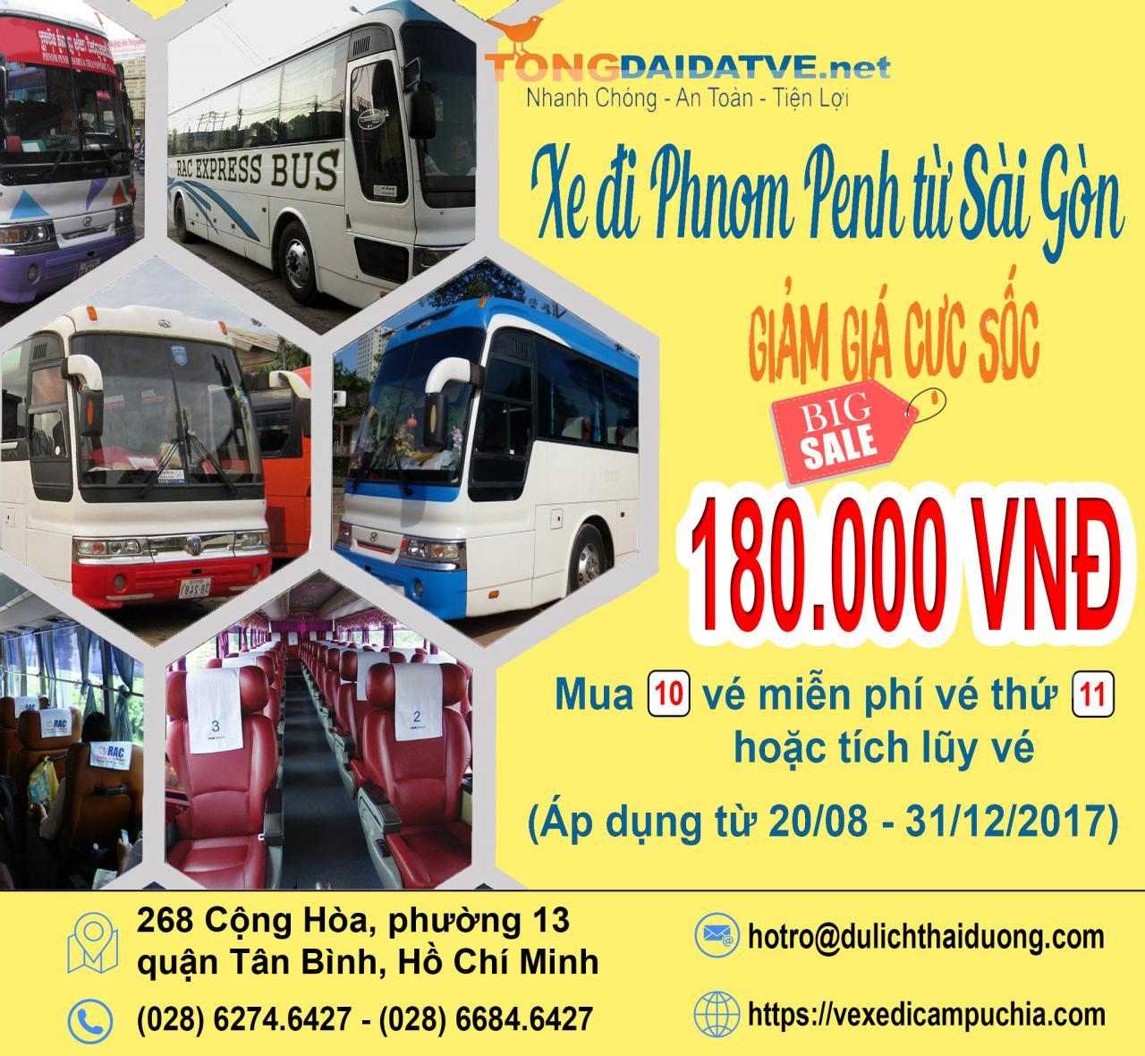 khuyến mại vé xe di campuchia 1 - Khuyến mại vé xe đi Campuchia chỉ 180k